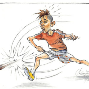 Caricature de joueur de babminton