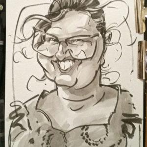 Caricature dame à lunette