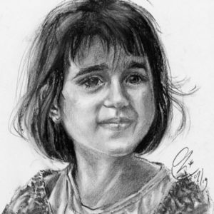 Portrait fille au fusain