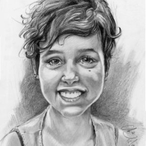 Portrait jeune fille crayon graphite