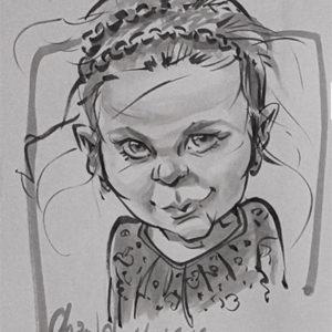 Caricature enfants en prestation au lavis encre de Chine par Champol