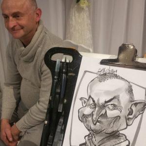 Caricature homme en prestation au lavis encre de Chine par Champol
