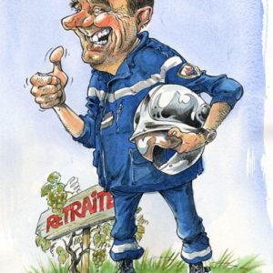 Caricature d'un pompier à la retraite