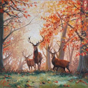 Tableau forêt automne, 3 cerfs - Huile