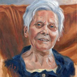 Portrait à l'huile d'une centenaire