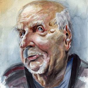 Portrait aquarelle vieil homme