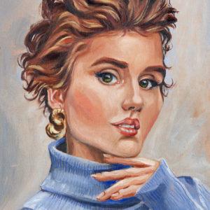 Portrait à l'huile d'une jeune femme