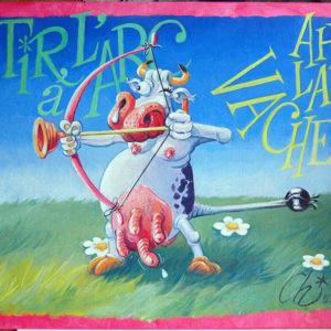 Tableau vache tir à l'arc humoristique - Acrylique